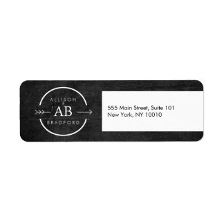 HIP & EDGY MONOGRAM LOGO with ARROW on BLACK WOOD Label