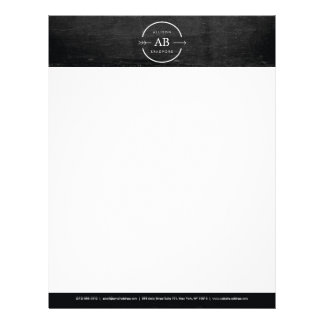 HIP & EDGY MONOGRAM LOGO with ARROW on BLACK WOOD Letterhead