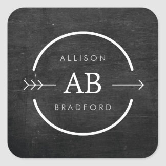 HIP & EDGY MONOGRAM LOGO with ARROW on BLACK WOOD Square Sticker