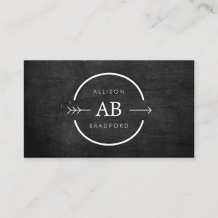 Hip business cards zazzle hip edgy monogram logo with arrow on black wood business card reheart Gallery