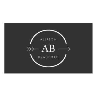 HIP EDGY MONOGRAM LOGO with ARROW on DARK GRAY Business Cards