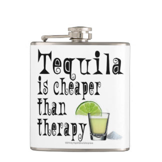HIP FLASKS, TEQUILA IS CHEAPER THAN THERAPY HIP FLASK