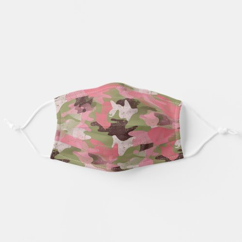 Hip Fun Military Green Pink Camouflage Art Pattern Adult Cloth Face Mask