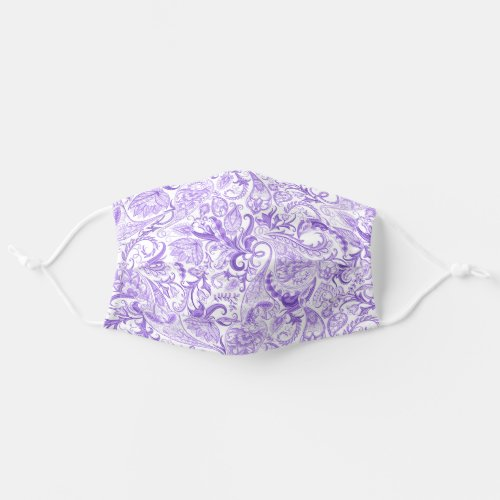 Hip Fun Pink Violet Purple White Floral Paisley Cloth Face Mask
