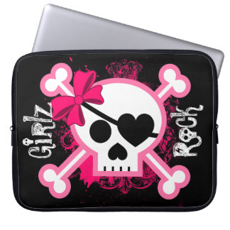 Hip Girls Rock Girl Skull Laptop Sleeve