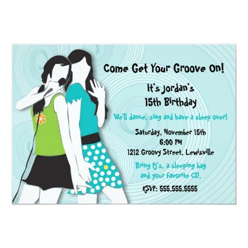 Hip Girls Singing 5x7 Paper Invitation Card