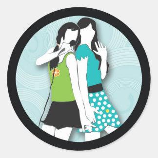 Hip Girls Singing Classic Round Sticker