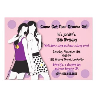 Hip Girls Singing in Pink and Purple Personalized Announcements