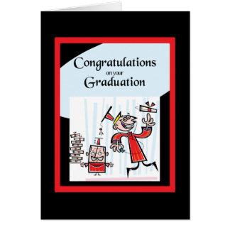 Hip Graduate and Fun Red abd Black Graduation Card