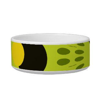 Hip Green and Black Geometric Circles Pattern Cat Water Bowls