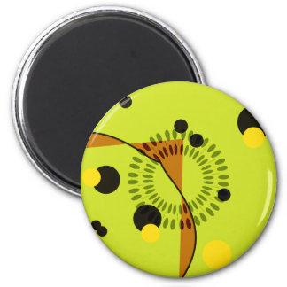 Hip Green and Black Geometric Circles Pattern Magnet