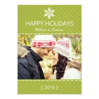 Hip Green Plaid Snowflake Holiday Flat Card