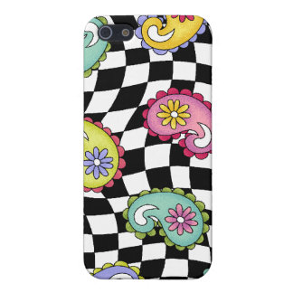 Hip Happy Paisley Checker fabric iPhone 4 cover