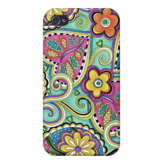 Hip Happy Paisley Teal iPhone 4 cover