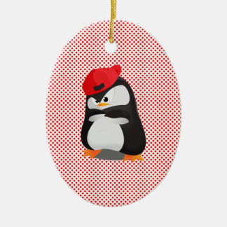 Hip Hop Angry Penguin Christmas Tree Ornament