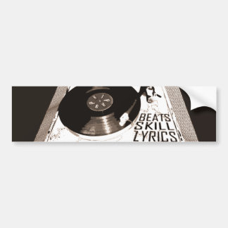 HIP HOP BEATS SKILL LYRICS ON TURNTABLE BUMPER STICKER