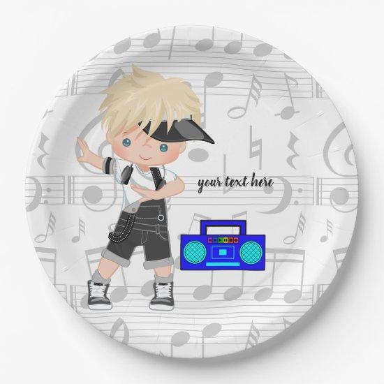 Hip hop boy paper plate