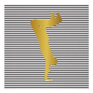 Hip Hop Break Dance Boy Stripes Black White Poster