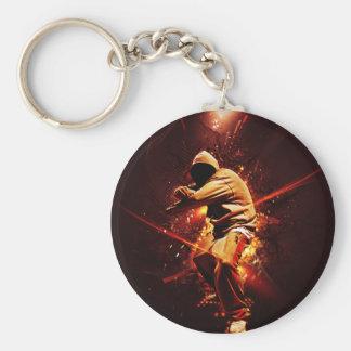 hip-hop breakdancer on fire keychain