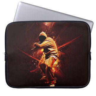 hip-hop breakdancer on fire laptop sleeve