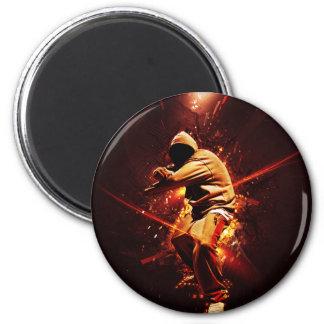 hip-hop breakdancer on fire magnets