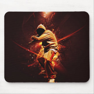 hip-hop breakdancer on fire mouse pad