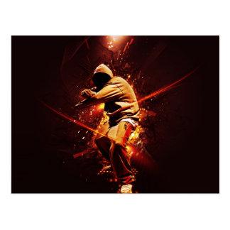 hip-hop breakdancer on fire postcard