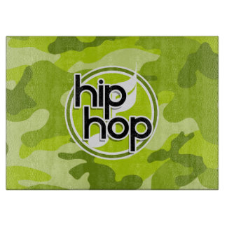 Hip Hop; bright green camo, camouflage Cutting Board