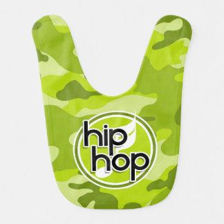 Hip Hop; camo verde claro, camuflaje Babero De Bebé