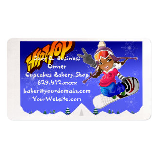 Hip Hop Cartoon Girl on Snowboard Business Card
