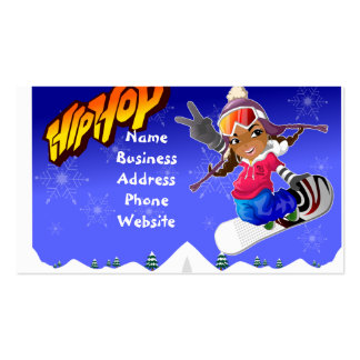 Hip Hop Cartoon Girl on Snowboard Double-Sided Standard Business Cards (Pack Of 100)