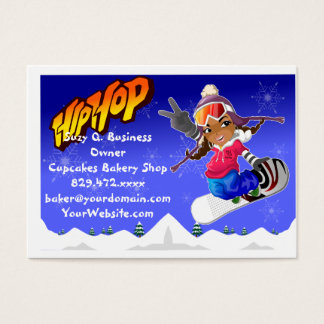 Hip Hop Cartoon Girl on Snowboard Business Card