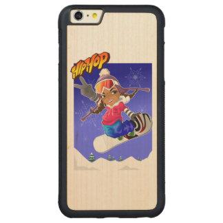 Hip Hop Cartoon Girl on Snowboard Carved Maple iPhone 6 Plus Bumper Case