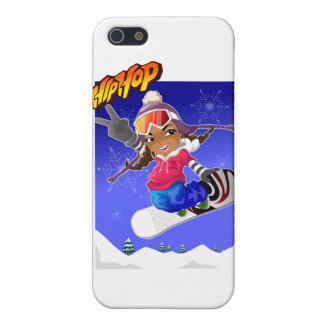 Hip Hop Cartoon Girl on Snowboard Case For iPhone SE/5/5s