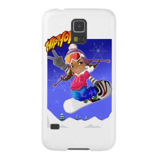 Hip Hop Cartoon Girl on Snowboard Galaxy S5 Cover