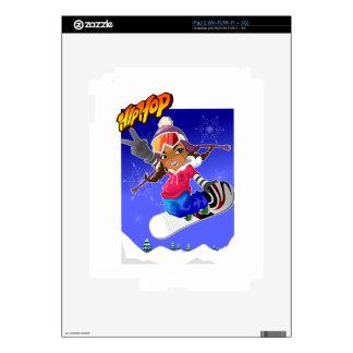Hip Hop Cartoon Girl on Snowboard iPad 2 Skins