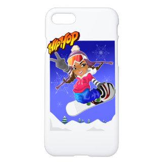 Hip Hop Cartoon Girl on Snowboard iPhone 7 Case