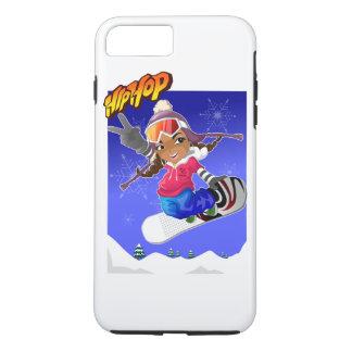 Hip Hop Cartoon Girl on Snowboard iPhone 7 Plus Case
