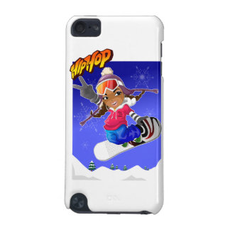 Hip Hop Cartoon Girl on Snowboard iPod Touch (5th Generation) Case