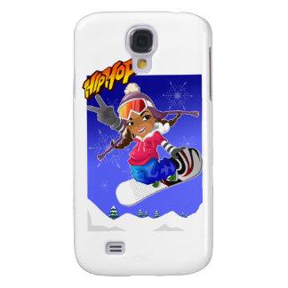 Hip Hop Cartoon Girl on Snowboard Samsung S4 Case