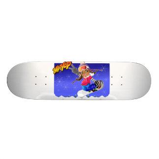 Hip Hop Cartoon Girl on Snowboard Skateboard Deck