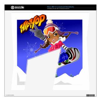 Hip Hop Cartoon Girl on Snowboard Xbox 360 S Skins