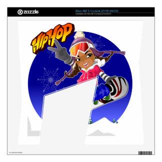 Hip Hop Cartoon Girl on Snowboard Xbox 360 S Skin