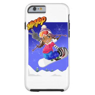 Hip Hop Cartoon Girl on Snowboard Tough iPhone 6 Case