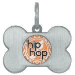 Hip Hop; Chevron anaranjado y blanco Placa Mascota