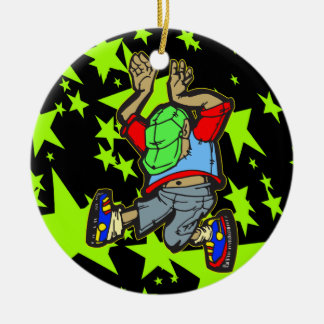 Hip Hop Dance Double-Sided Ceramic Round Christmas Ornament