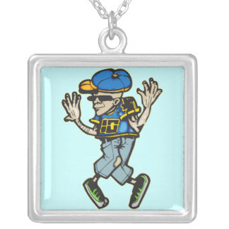 Hip Hop Dancer Silver Plated Necklace