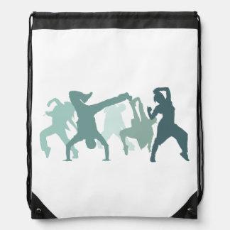 Hip Hop Dancers Illustration Drawstring Backpack
