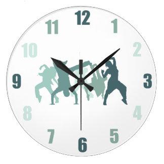 Hip Hop Dancers Illustration Large Clock