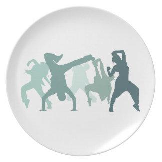 Hip Hop Dancers Illustration Melamine Plate